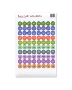 "Rollerball ""Wellness"" Assorted Waterproof Sticker Tops (Set of 88)"