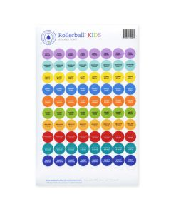 "Rollerball ""Kids"" Assorted Waterproof Sticker Tops (Set of 88)"