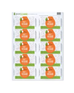 """Green Cleaning"" Fruit & Veggie Waterproof Label Set (Set of 10)"