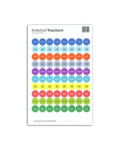 "Rollerball ""Teachers"" Assorted Waterproof Sticker Tops (Set of 88)"