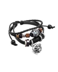 Black Boho Leather Aroma-ball Bracelet
