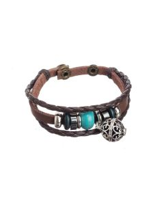 Braided Leather Aroma-ball Bracelet