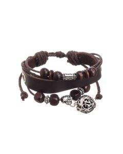 Dark Brown Leather Aroma-ball Bracelet