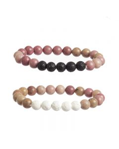 Crystal Bead and Lava Stone Diffusing Bracelet (Set of 2)