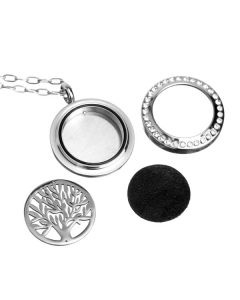 Crystal Locket Diffusing Jewelry, Switchable Tree of Life Design