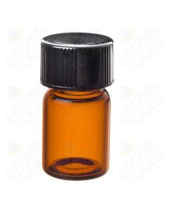 9100 -  5/8 dram Amber Glass Vials with Orifice Reducers and Black Caps (pkg. of 12)