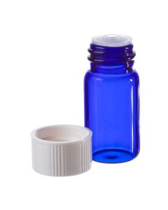 5/8 Dram Blue Glass Vials with Orifice Reducers and White Caps (Set of 6)