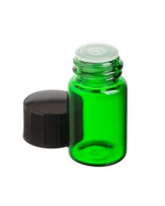 5/8 Dram Green Glass Vials with Orifice Reducers and Black Caps (Set of 12)