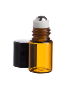 2 ml Amber Glass Vials with Metal Rollers and Black Caps (Set of 144)