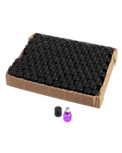 1 ml Purple Glass Vials with Metal Rollers and Black Caps (Set of 144)