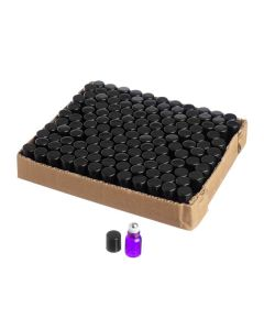 2 ml Purple Glass Vials with Metal Rollers and Black Caps (Set of 144)