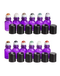 2 ml Purple Glass Vials with Gemstone Rollers and Black Caps (Set of 12)