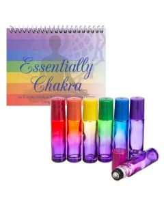 """Essentially Chakra"" Set with Ombre Chakra-colored Glass Roll-on Vials"