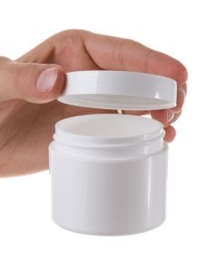 2 oz. White Plastic Salve Container with Straight-Sided Lid
