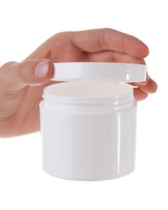 4 oz. Straight Sided White Plastic Salve Container with Smooth Lid