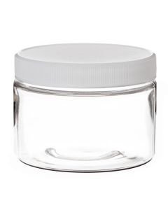 12 oz. Clear PET Plastic Jar with White Ribbed Lid