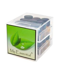 Cube Oil Box Set with ¼ Dram Sample Vials, Caps, and Orifice Reducers (Holds 18 Vials)