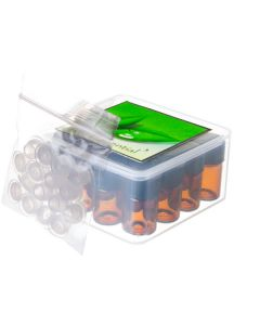 Cube Oil Box Set with 5/8 Dram Sample Vials, Caps, and Orifice Reducers (Holds 16 Vials)
