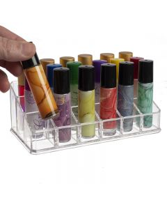 3-Tier Clear Plastic Roll-on Display Riser (Holds 18 Vials)