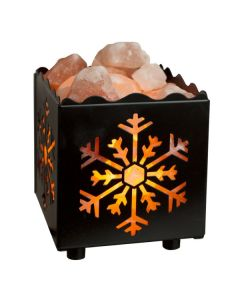Cube Snowflake Lamp Basket with Himalayan Salts
